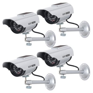 4 Pack Solar Powered Dummy Fake Simulated Surveillance Security CCTV Dome Camera Indoor Outdoor with LED Light Warning Security