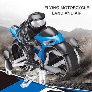 2 en un mando de control Transformble Quadcopter juguete de la motocicleta, Modo Dual Tierra Aire aviones no tripulados, 360 ° flip luces de colores, regalos de Navidad Kid Boy, 2-2