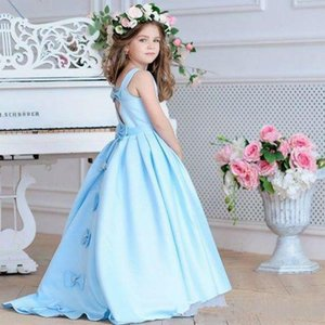 Blue Satin Beads Flower Girl Dresses For Wedding A-Line Princess Dresses Pageant Party Girl Dress With Bow