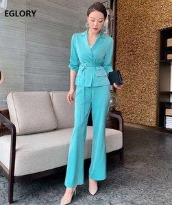Высокое качество Blazer наборы 2020 Spring Summer Work костюм Женщины Зубчатый Воротник Blue Rose Red Coat Blazer + Длинные брюки Комплекты Костюмы 2pc