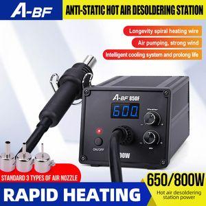 A-BF Anti-estático Display Digital Desoldering Station Hot Air Gun espiral vento constante de temperatura ajustável estação de soldagem