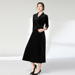 2019 Autumn Alta fredda Fan temperamento Lady Of Quality auto-coltivazione Skinny abito di velluto con revers Black Dress