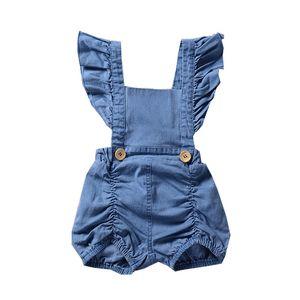 Bebek Denim romper INS Yenidoğan Toddler Fırfır Uçan kollu Tulumlar 2019 yaz moda Butik çocuklar Tırmanma giysileri C6068
