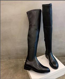nuove donne del progettista di marca di lusso nel corso degli stivali al ginocchio Cowskin coscia stivali alti stivali di pelle vera moto in vernice