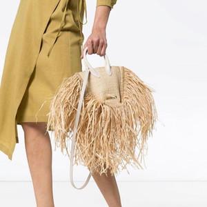 моды кисточкой соломы мешки ротанга переплетения женщин сумки дизайнер роскошь ручной работы плечо Crossbody сумки лето пляж кошельки T191210