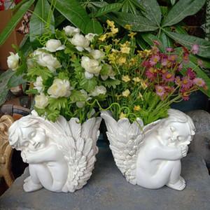 Ao Ar Livre Menino retro das meninas anjo do Cupido vaso ornamento Flower Pot deusa Fada pequena asa grande Figurines Resina Artesanato Decoração T191016
