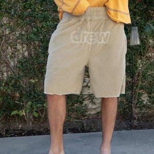 2020 Ins Hot Shorts da praia de Drew Casa Justin Bieber bordado Corduroy Calças Curtas Homens Mulheres Shorts Sweatpants