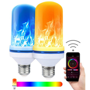 patentlerle APP LED Alev Etkisi Yangın Ampuller 4 Modlar Renkli E26 E27 Bankası Vintage ampul Cadılar Bayramı Atmosfer Işık Noel Dekor