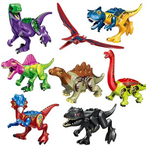 الديناصور نموذج اللعب 8 قطع الحديقة الجوراسية العالم الفيلم triceratops الديناصور نموذج اللبنات أطفال اللعب minifig