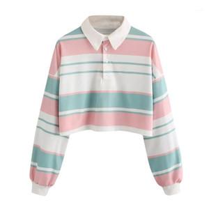 Women's T-Shirt Harajuku Kawaii Women Long Sleeve Top 2 Casual Drop Shoulder Striped Crop Pullover Sweatshirt Bluses Korean Style1