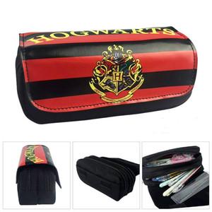 Harry Potter Crayon cas Serpentard Grille Quatre grands Logo Bouclier Stationery Couleur Image Double fermeture à glissière de stockage Pen Case