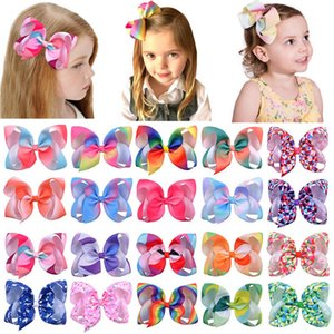 Hot sale 6inch rainbow hair bows girls hair clips Unicorn kids barrettes baby BB clip baby girl hair accessories B1438