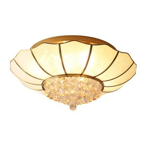 Nordic modern simple atmospheric round lamp all copper crystal LED ceiling lamp Dia.77cm living room hall bedroom dining room