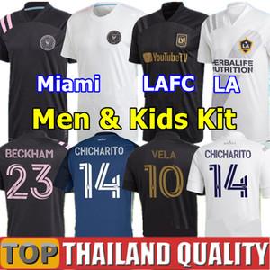 2020 Los Angeles FC camisetas de futebol 2021 LAFC Carlos Vela Inter Miami Beckham conjunto de camisa de futebol preto LA Galaxy Chicharito homens kit crianças uniforme