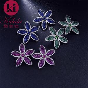 GODKI 38mm coloré printemps luxe géométrique florale pleine fleur Zircon mariage Parti femmes Boucle d'oreille Bijoux Fashion