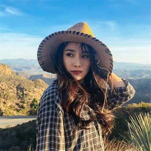 Moda vaquero paja sol sombrero de alta calidad anti-uv vacaciones playa sombreros para mujer ancho sombreros marea pescador sombreros
