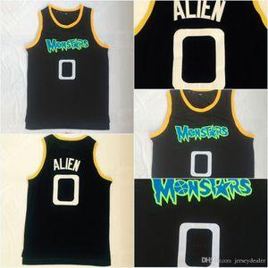 Barato ALIENS ALIENS MONSTARS 0 ALIE Filme Basketball Jersey 100% Costurado Espaço Jam Tune Squad Equipe Retro Azul S-3XL Transporte Rápido