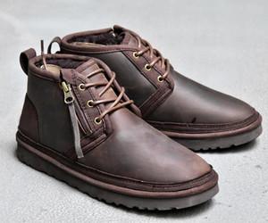 2020 Arco-nudo WGG mensuggs clásico de altura media Botas arco botas de los hombres de la muchacha de arranque de nieve de invierno los zapatos de cuero negro azul tobillo # # 05bb53