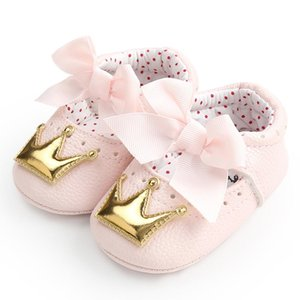 Leather Shoes PU infante appena nato della neonata Crown Princess Shoes morbida suola antiscivolo scarpe da tennis Bambino Primi camminatori 0-18Y