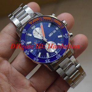 NEW 남성 시계 스테인레스 스틸 스트랩 블루 베젤 일본 쿼츠 크로노 그래프 작동 작은 문자판 다기능 스톱워치 I 376708 W
