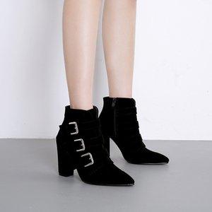 Горячие Продажа Женщина-Buckle Высокие каблуки обуви Zip Short Knight Boots Дамы Мотоцикл загрузки Flock Остроконечные Toe Zapatos De Mujer Black