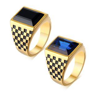 Anneaux de bande de cristal d'or de grille en damier en acier inoxydable drapeau anneau de pouce Biker bijoux anneau de motif géométrique