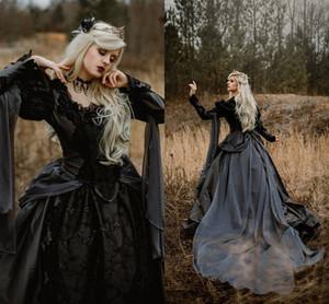 Готическая спящая красота принцесса средневековое черное свадебное платье с длинным рукавом кружевные аппликации викторианские маскарады свадебные платья