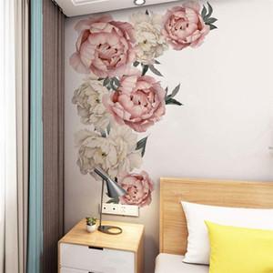 Peony Flowers Wandaufkleber Vinyl Selbstklebende Flora Wand-Kunst-Aquarell für Wohnzimmer Schlafzimmer Wohnkultur