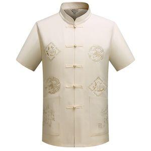 Mandarin Collar Kung Fu Tai Chi uniforme traditionnel dragon chinois Tang costume Vêtements Top été en coton Chemise en lin Hommes