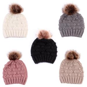 Bebê de malha de lã Chapéus falso bola de pêlo Pompom Crochet Caps inverno quente infantil cap Crianças Meninos Meninas Beanie 5 cores
