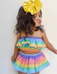 2020 Summer rainbow baby girls suits cute girls outfits baby girl clothes Tops+skirts+ headband 3pcs set baby girl designer clothes B1104