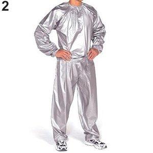 Perda de peso Sauna Suit Loss Exercício Gym Anti-Rip preto das mulheres dos homens da aptidão de peso manga comprida Sweat Sauna Suit Exercício Top Calças