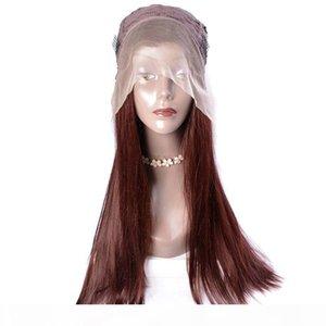 L moderne Voir abordable Lace Front Wigs Vente foncé Auburn Brown Droit Couleur de cheveux synthétiques perruques pour les femmes