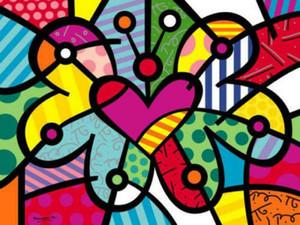Romero Britto Мультфильм Декор стены Красочный цветочный декор дома расписанную HD печати Картина маслом на холсте стены искусства Холст картинки 191031