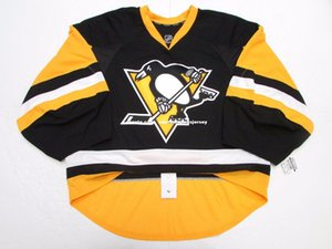 Cheap custom PITTSBURGH PENGUINS HOME TEAM ISSUED EDGE 2.0 7287 JERSEY GOALIE CUT stitch add any number any name Mens Hockey Jersey XS-5XL