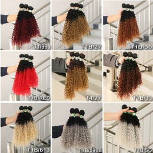 Afro Kinky Curly Hair Weave Bundles Ombre Coloured Multi Tgreen / viola / biondo / marrone Jerry Culry Estensioni dei capelli sintetici 3 pezzi / set 16 18 20