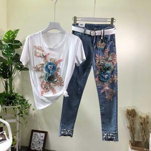 2020 primavera / verano de los pantalones vaqueros nuevos conjuntos femeninos de bolas Flores Stretch Jeans + manga corta camiseta de juego de las mujeres Camisas y pantalones de 2 pedazos