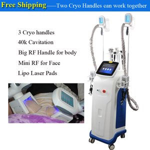 3 mango crio grasa equipos de salón de pérdida de peso láser lipo reducción de adelgazamiento vacío ultrasónico celulitis congelación máquina de la belleza
