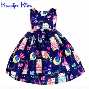 Kseniya Детские Новые европейские летние девочки платья хлопка мультфильм девушка Детская одежда Синий Розовый цветок платье ручной граффити 2-14 лет T191007