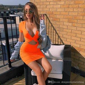 Sexy Candy Color Designer Bodycon платья моды выдалбливают V-образным вырезом Женщины Платья лето тощий Женская одежда