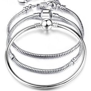 Charm Bracelets 925 Sterling Silver 3mm Snake Chain Fit Pandora Charms Bead Bangle Bracelet Fashion Jewelry DIY Bangle For Men Women