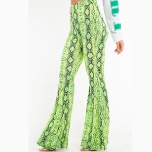 Designer Clothing Women Snake Pattern Flare Pants Fashion High Waist Stretchy Pants Casual Long Trousers 20ss Women