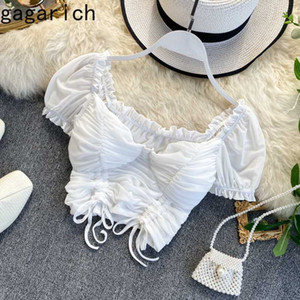 Gagarich camicetta delle donne sexy breve Bassiera stile occidentale maniche a sbuffo con coulisse Folds vita Streetwear signore Tops Fashion