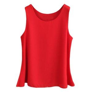 Banerdanni Kadınlar şifon Bluz 2019 Yeni varış Yaz kolsuz O-Boyun Kadın Bluzlar Artı boyutu 6XL 5XL Düz renk Gömlek