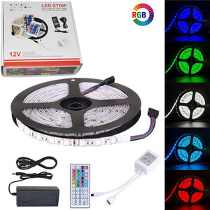 5M LED strip 5050 Strip LED Light RGB DC12V Flexible 24KEY 44KEY IR Remote Controller DC12V Power Adapter led strip kit