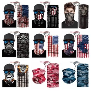 hot Outdoor USA Flag magic headscarf bandana cycling masks Head Neck Scarves Windproof Sport face mask with Filter Designer Mask T2I51007
