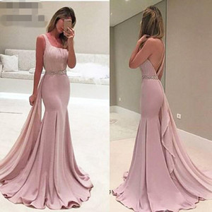 Cheap Luxury Pink Mermaid Evening Dresses 2020 one shoulder backless Pearls Belt Dubai Saudi Arabic Formal Gown Prom Dress Robe De Soiree
