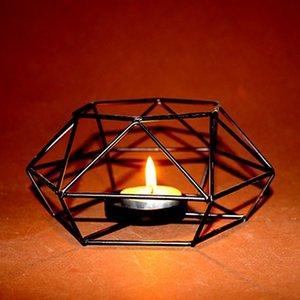 1 UNID Geométrica Candlestick Nordic Estilo Minimalista Adornos Aplique de Pared de Acero A Juego Pequeño Tealight Candeleros D19011702
