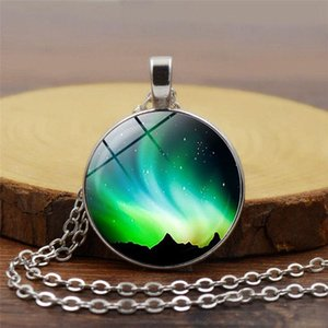 New Fashion Green Aurora Borealis Necklace Glass Cabochon Pendant Necklace For Women Gift Girls Best Festival Gift Jewelry