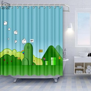 Game Character Waterproof Child Bathroom Curtains Super Mario Polyester Fabric Shower Curtain Bathing For Kids Bath Curtain